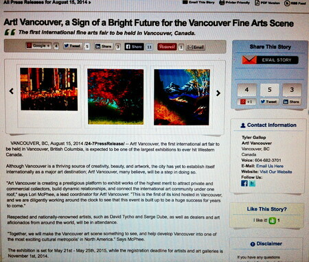 ART! VANCOUVER, A SIGN OF A BRIGHT FUTURE FOR THE VANCOUVER FINE ARTS SCENE , SAY'S ARTIST LORI MCPHEE